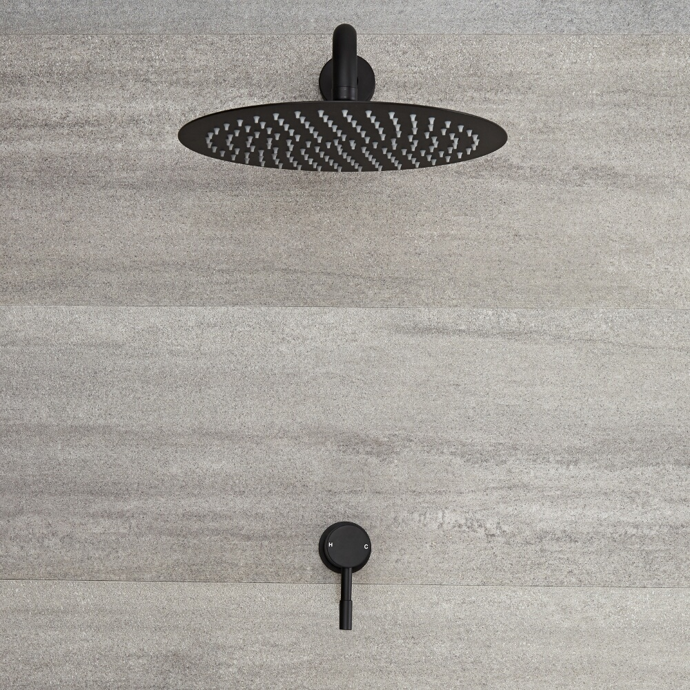 Milano Nero - Manual Shower Valve with 300mm Round Head and Arm - Black