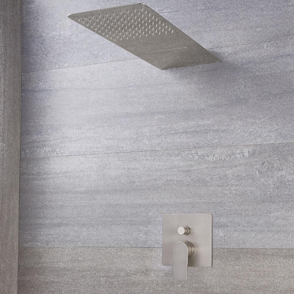 Milano Ashurst - Manual Diverter Shower Valve with Waterblade Shower Head - Brushed Nickel