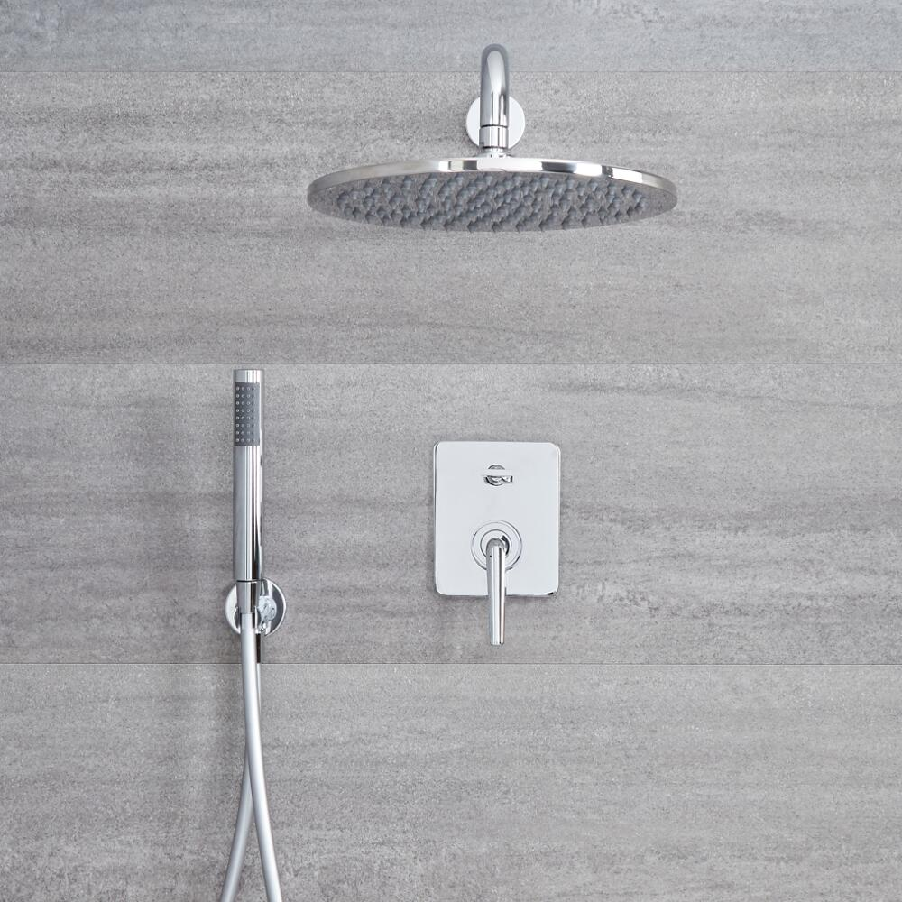 Milano Vora - Manual Diverter Shower Valve with 300mm Round Head and Handset - Chrome