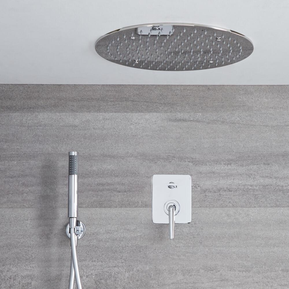 Milano Vora - Modern Manual Diverter Shower Valve with 400mm Round Recessed Head and Handset - Chrome