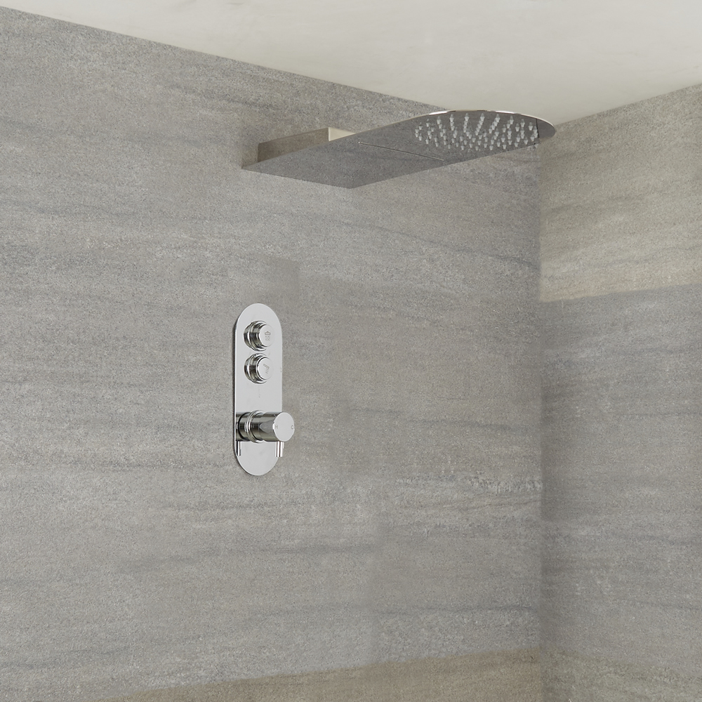 Milano Orta - Modern 2 Outlet Shower with Push Button Valve and Waterblade Shower Head - Chrome