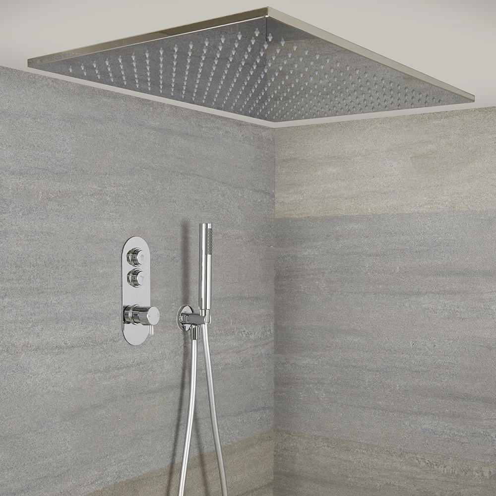 Milano Orta - Chrome Thermostatic Shower with Large Recessed Shower Head and Hand Shower (2 Outlet)
