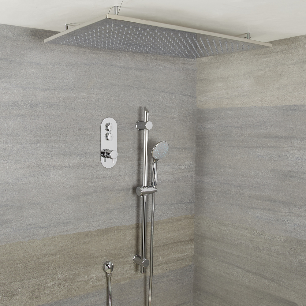 Milano Orta - 2 outlet Push Button shower valve, Slide Rail Kit and Ceiling Shower Head