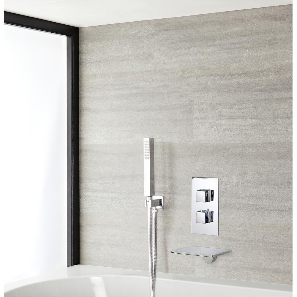 Milano Blade - Modern Waterfall Bath Filler With Twin Diverter Thermostatic Shower Valve & Handshower