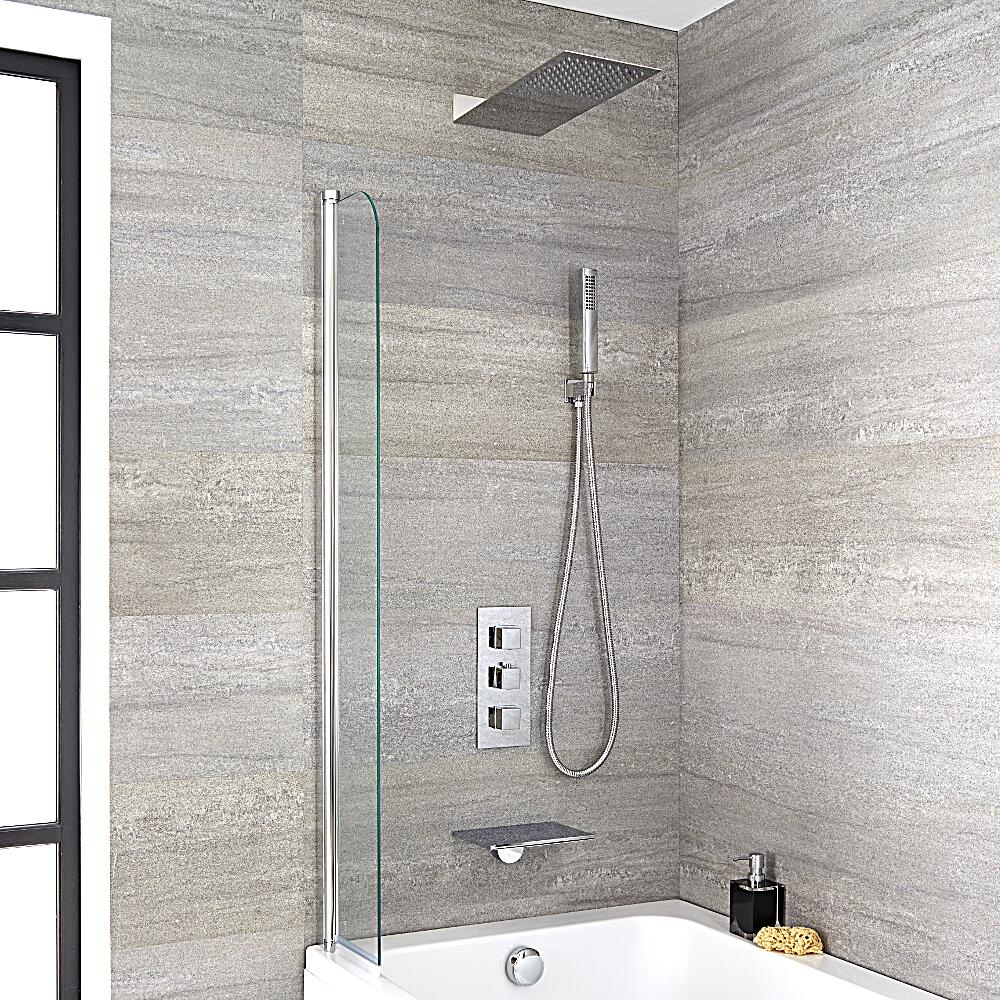 Milano - Waterfall Bath Filler With Square Triple Diverter, Thermostatic Shower Valve & Head