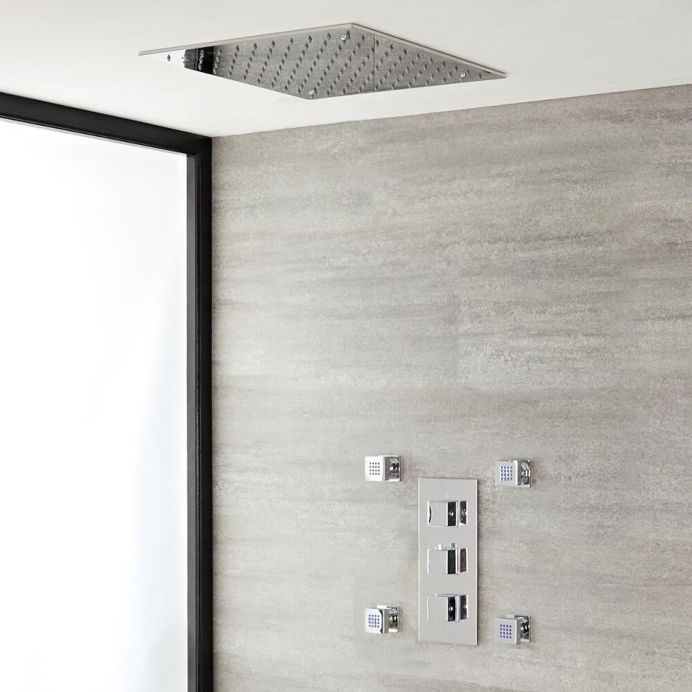 Milano Arvo - Chrome Thermostatic Shower with Recessed Shower Head and Body Jets (2 Outlet)