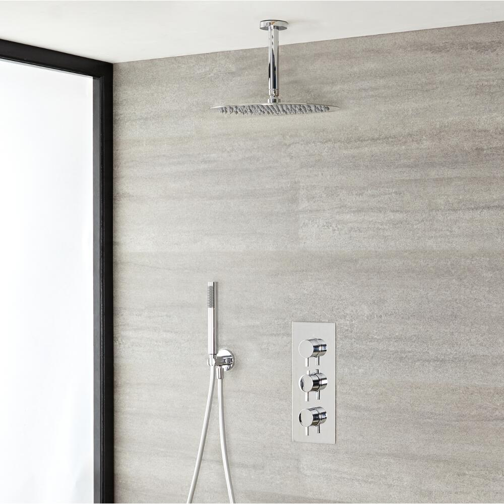 Milano Mirage - Modern Round Triple Thermostatic Shower Valve with Round Shower Head, Ceiling Arm and Hand Shower - Chrome