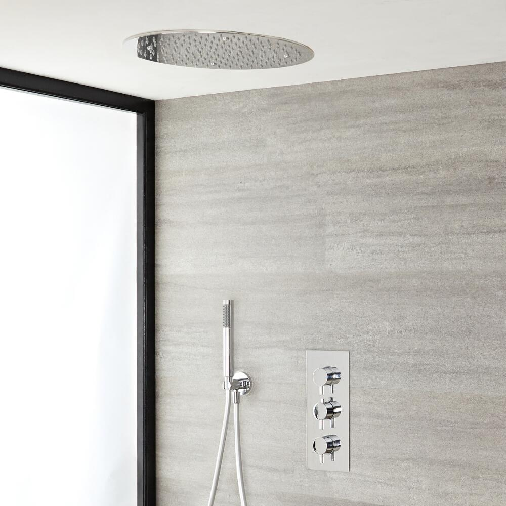 Milano Mirage - Modern Round Triple Thermostatic Shower Valve, 400mm Recessed Shower Head and Hand Shower