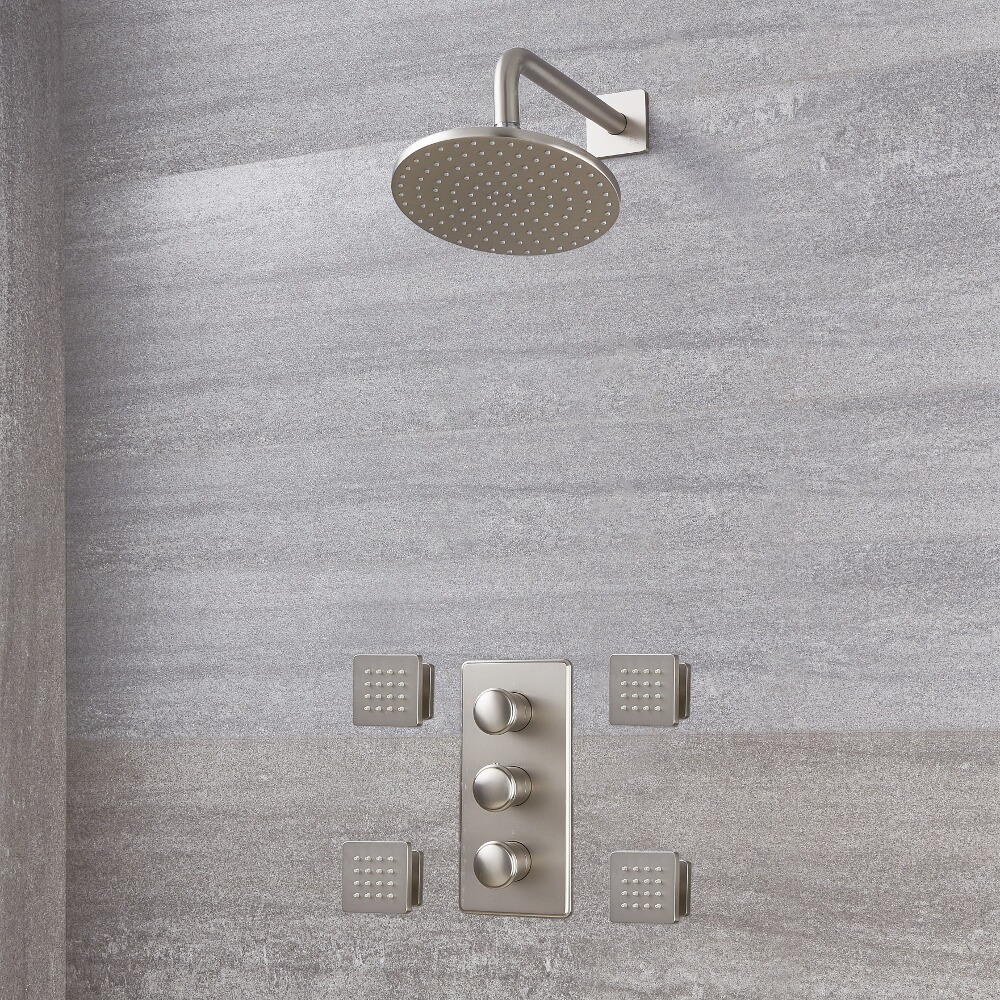 Milano Ashurst - Triple Thermostatic Shower Valve, 200mm Round Head and Body Jets - Brushed Nickel