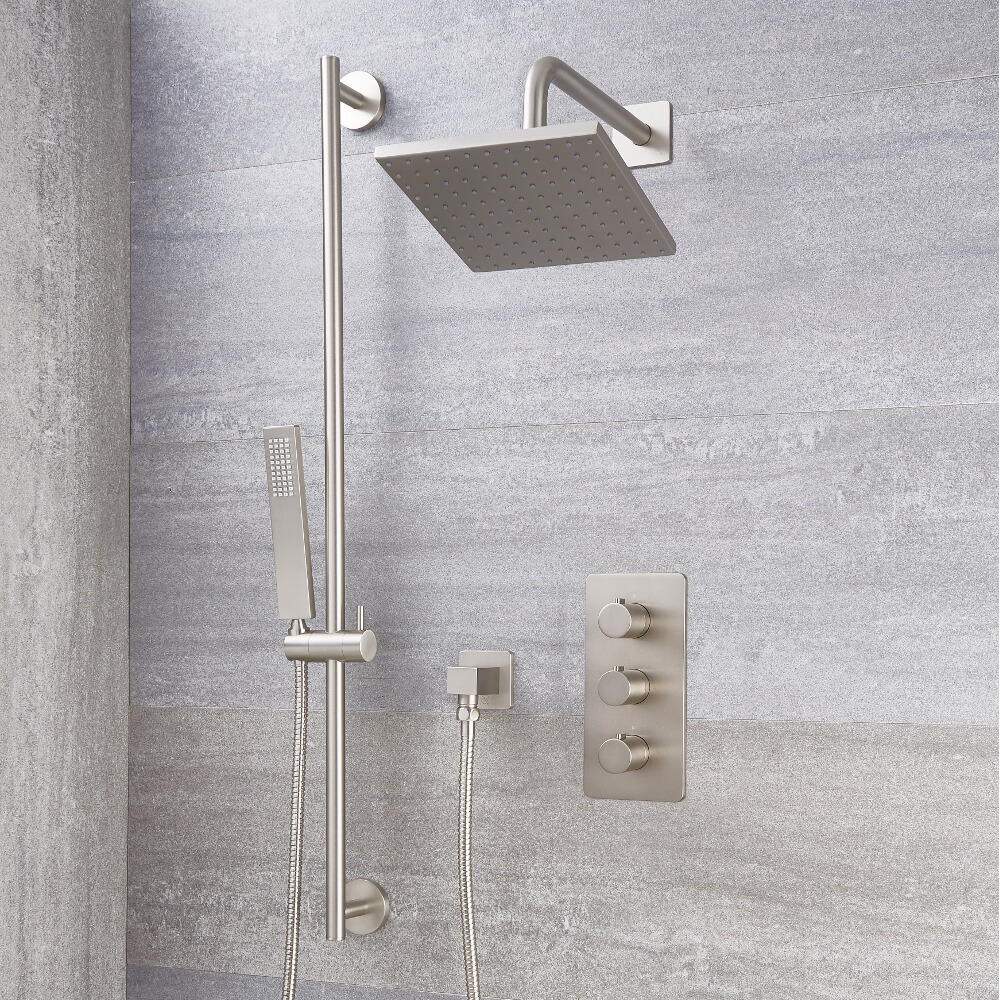Milano Hunston - Brushed Nickel Thermostatic Shower with Shower Head, Hand Shower and Riser Rail (2 Outlet)