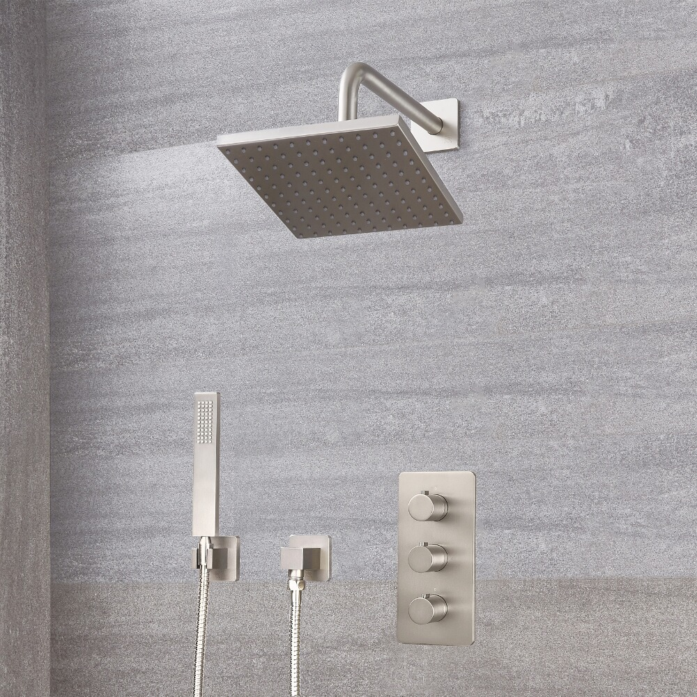 Milano Hunston - Triple Thermostatic Shower Valve, Square Head and Handset - Brushed Nickel
