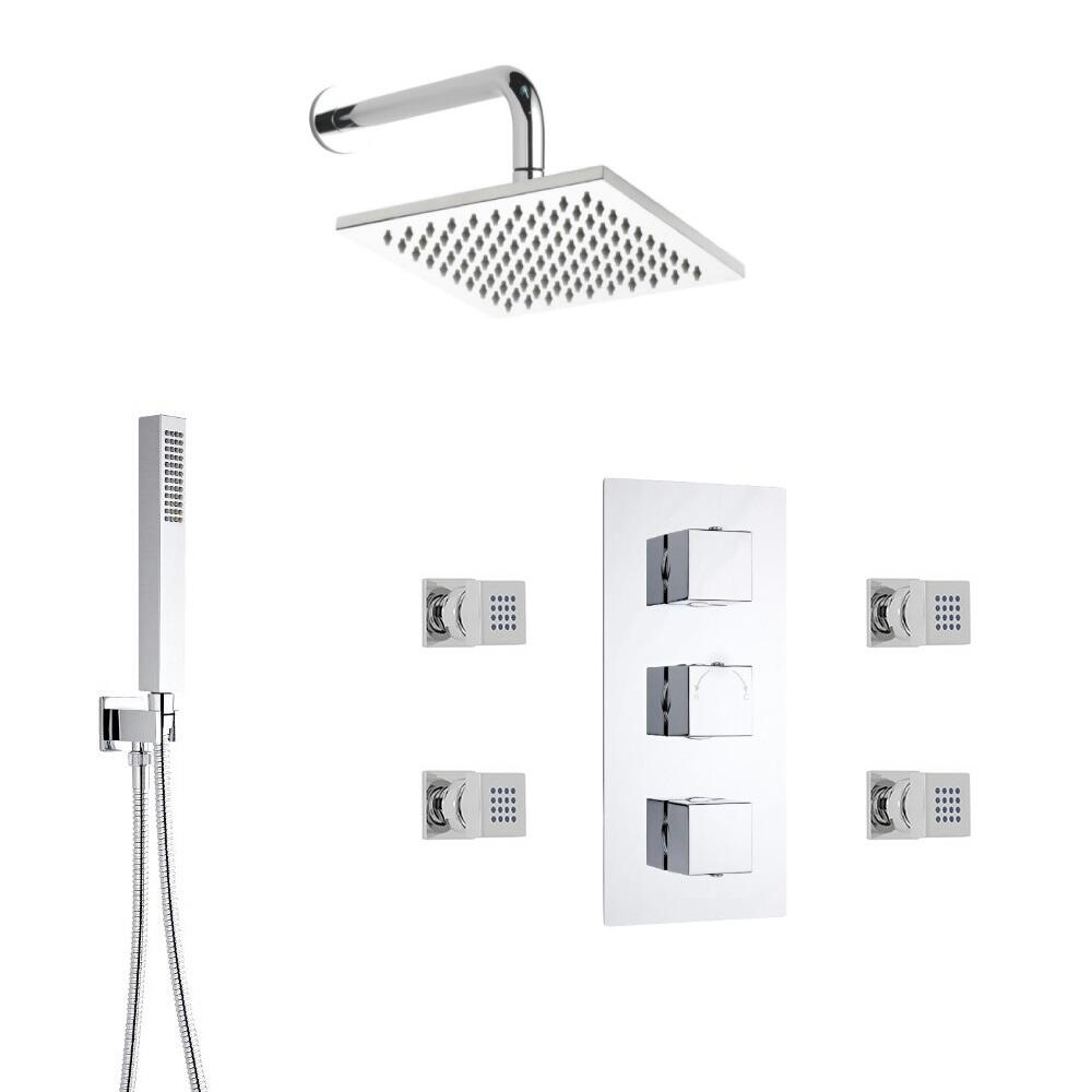Milano Square Triple Diverter Thermostatic Valve, 200mm Head, Wall Arm, Handset and Body Jets