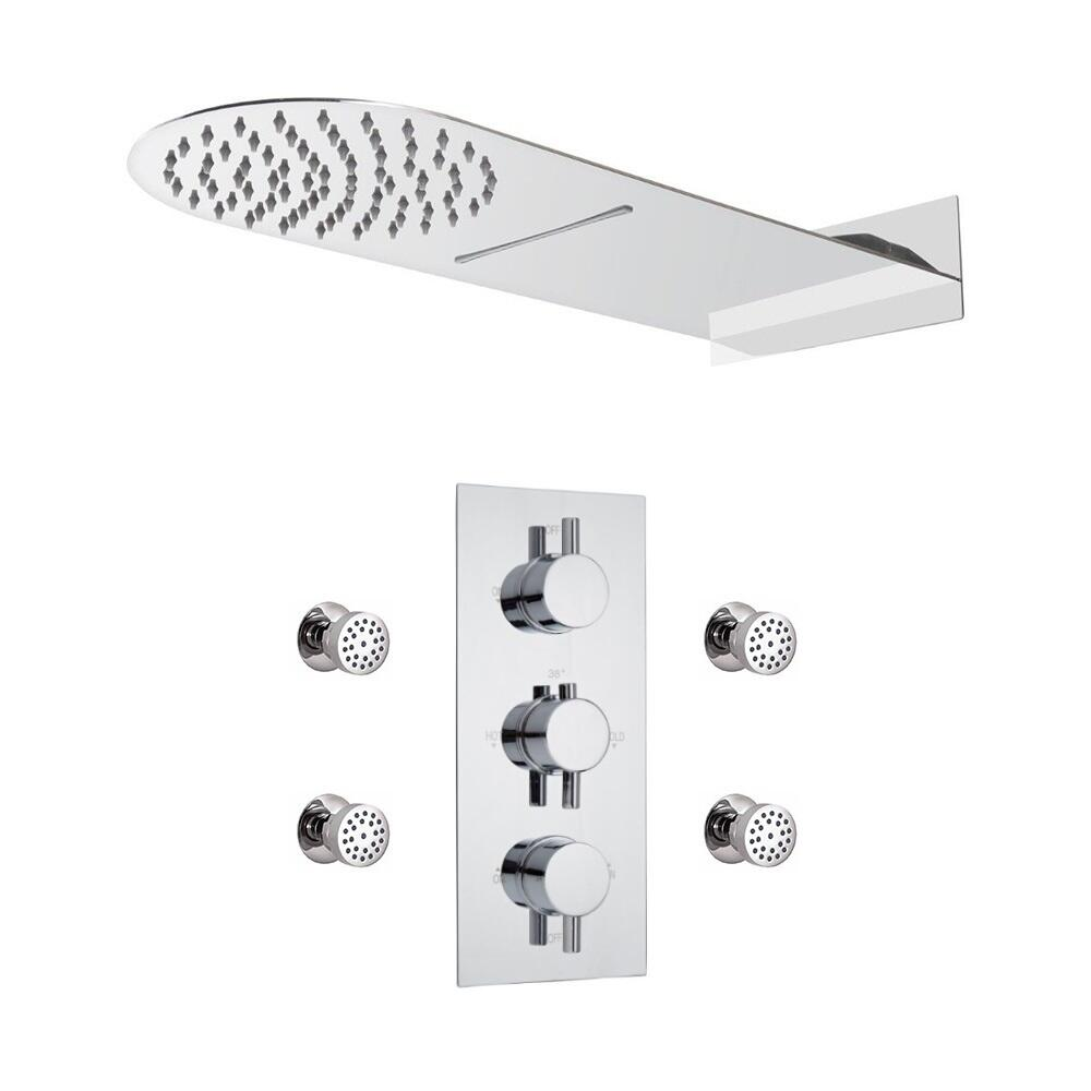 Milano Mirage - Modern Round Triple Diverter Thermostatic Valve with Waterblade Shower Head and Body Jets - Chrome