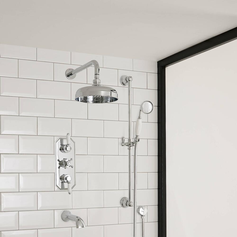 Milano Elizabeth - Traditional Triple Diverter Thermostatic Valve with 200mm Apron Shower Head, Wall Arm, Slide Rail and Bath Spout - Chrome