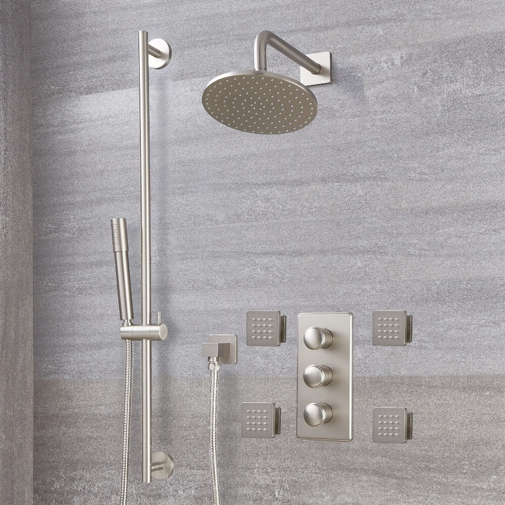 Milano Ashurst - Triple Diverter Thermostatic Valve, 200mm Round Head, Slide Rail Kit and Body Jets - Brushed Nickel