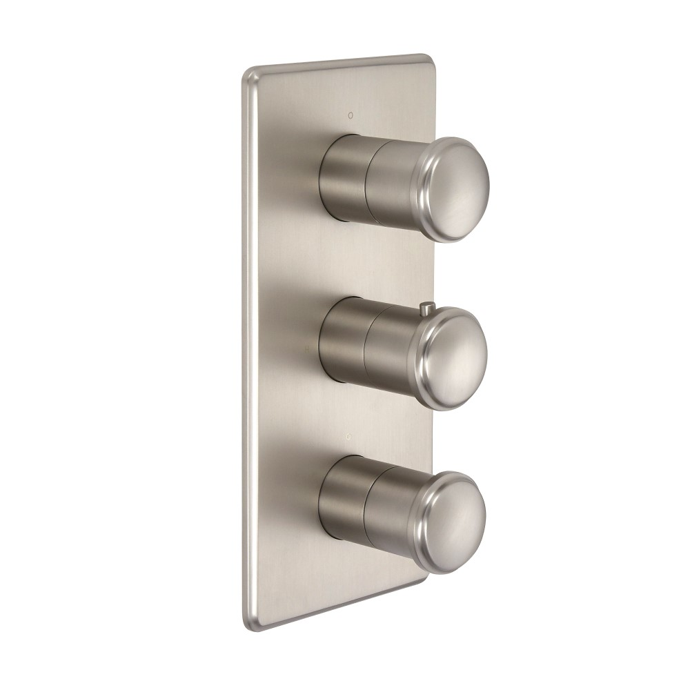 Milano Ashurst - Modern Thermostatic Triple Shower Valve - Two Outlets - Brushed Nickel