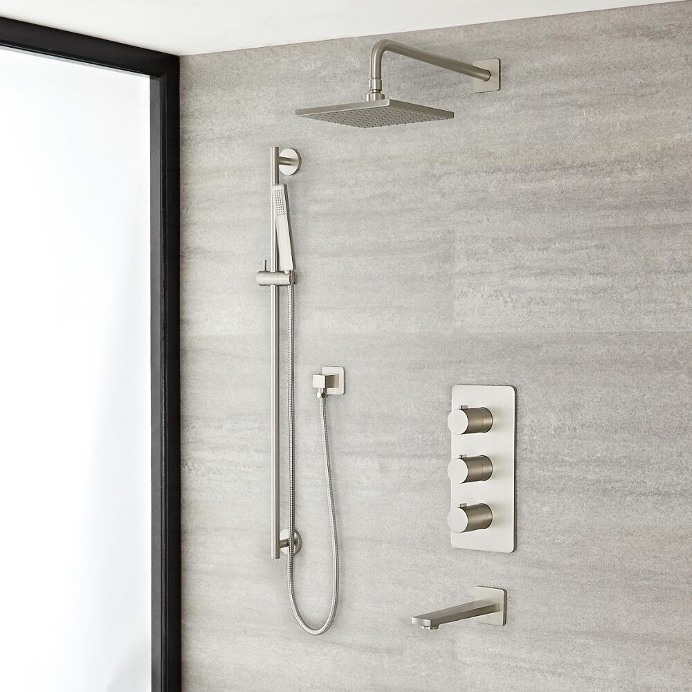 Milano Hunston - Triple Diverter Thermostatic Valve, 200mm Square Head, Riser Rail Kit and Spout - Brushed Nickel