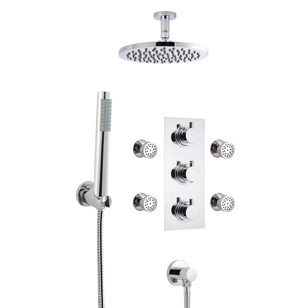 Milano Round Thermostatic Shower with Ceiling Mounted Head, Hand Shower and Body Jets