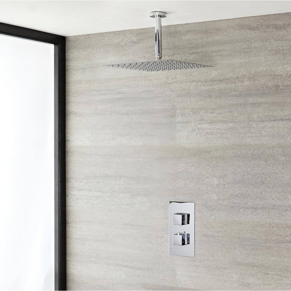 Milano Arvo - Modern Square Twin Thermostatic Shower Valve with 400mm Square Shower Head and Ceiling Arm - Chrome