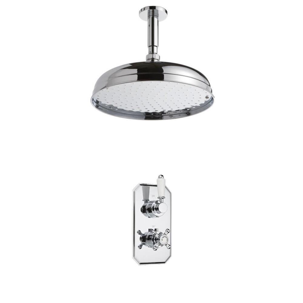 Milano Traditional Twin Thermostatic Shower Valve With 300mm Shower Head and Ceiling Arm