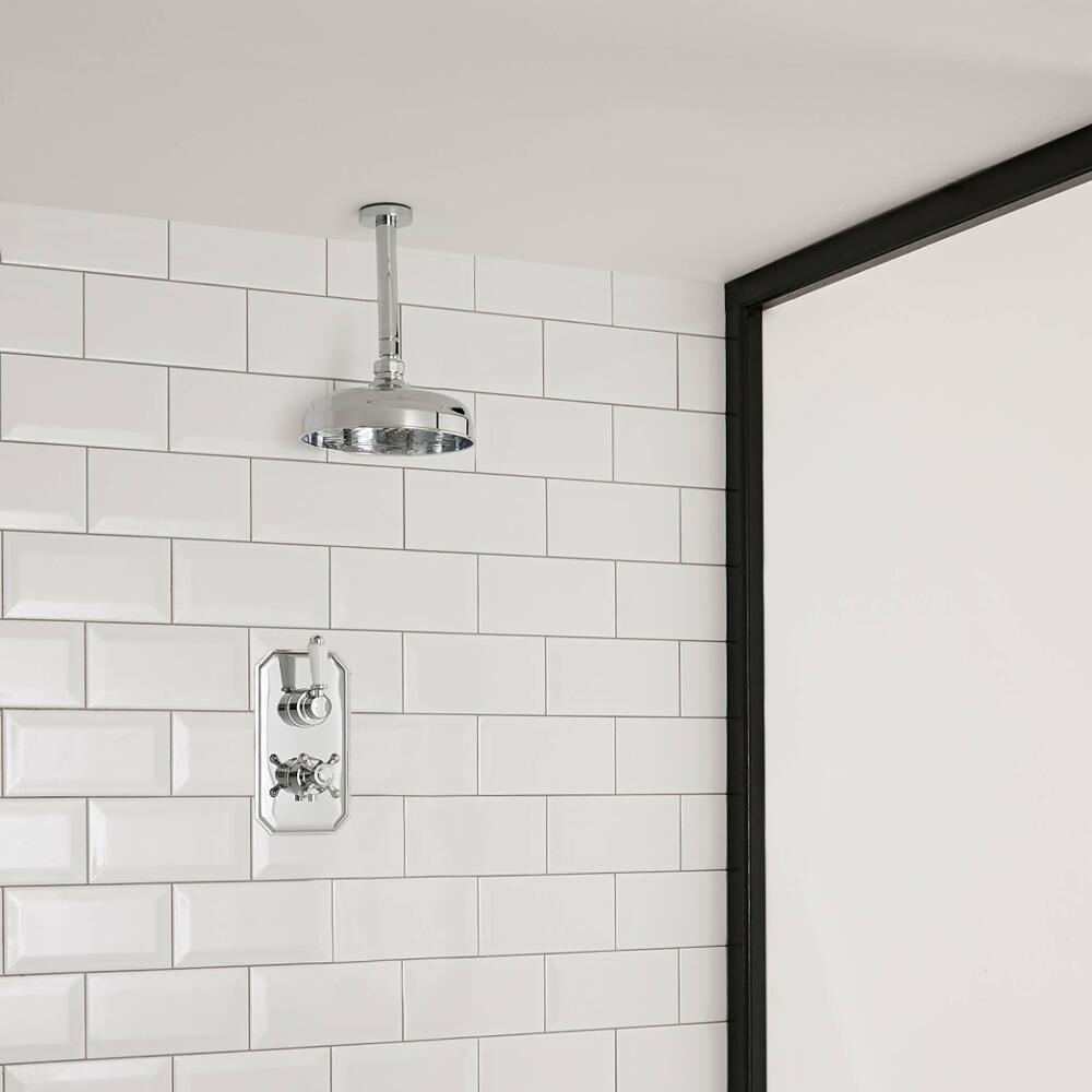Milano Elizabeth - Traditional Twin Thermostatic Shower Valve with 300mm Round Shower Head and Ceiling Arm - Chrome
