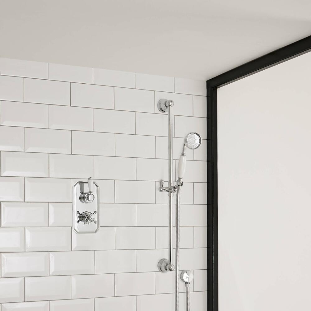 Milano Elizabeth - Traditional Twin Thermostatic Shower Valve with Slide Rail Kit - Chrome