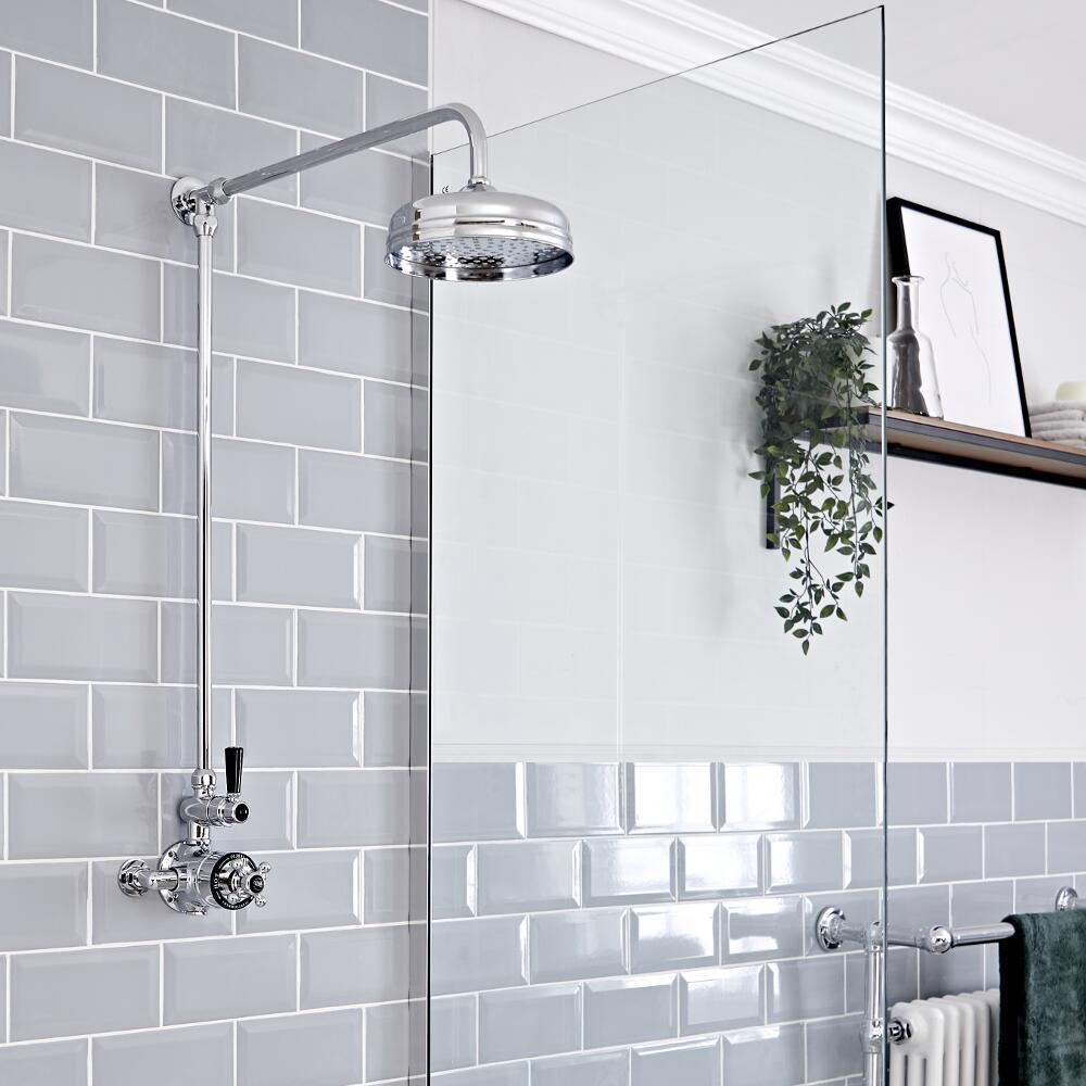 Milano Elizabeth - Chrome and Black Traditional Twin Exposed Thermostatic Shower with Round Shower Head and Rigid Riser Rail (1 Outlet)