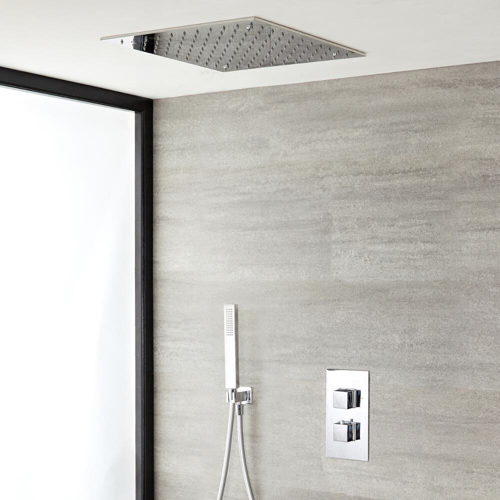 Milano Arvo - Chrome Thermostatic Shower with Diverter, Hand Shower and Recessed Shower Head (2 Outlet)