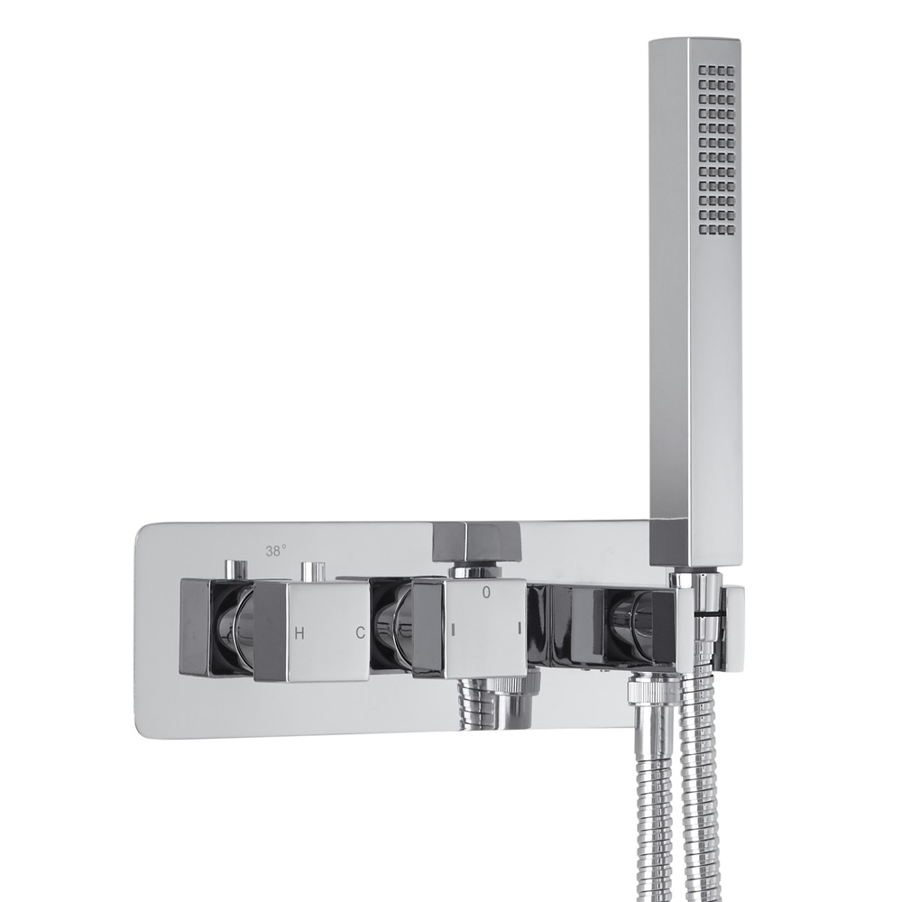 Milano Arvo Square Twin Diverter Thermostatic Shower Valve with Handset