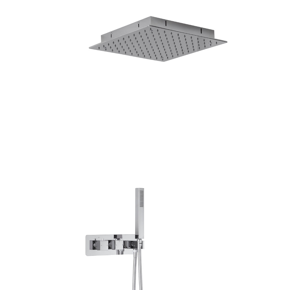 Milano Arvo Square Twin Diverter Thermostatic Shower Valve with Handset and 400mm Recessed Head
