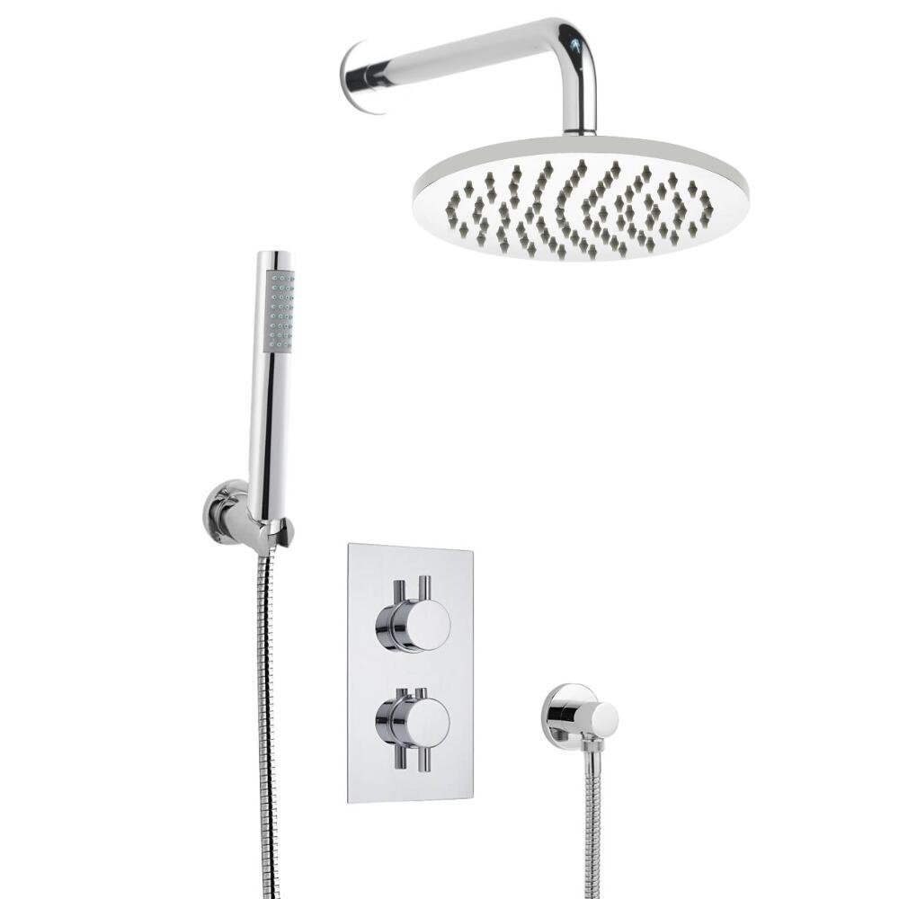 Milano Round Twin Diverter Thermostatic Valve, 200mm Shower Head, Wall Arm and Hand Shower