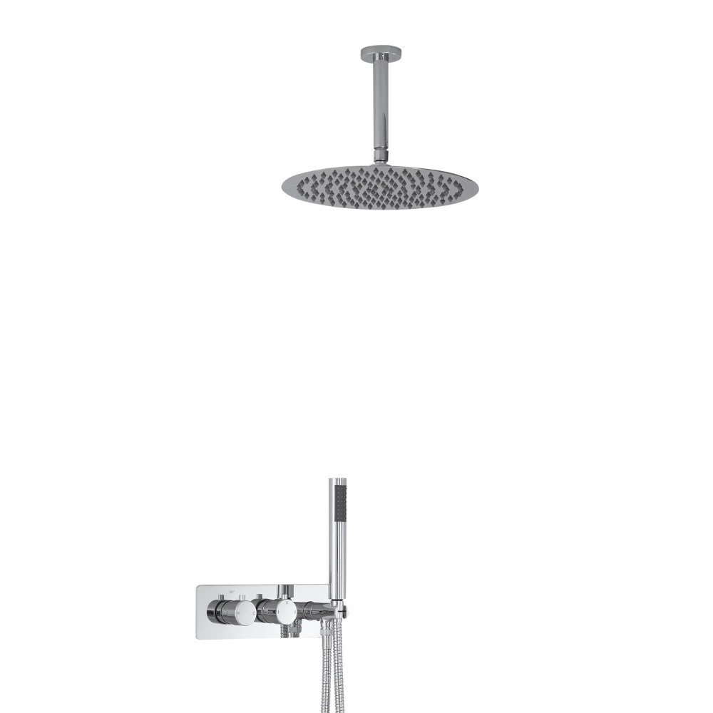 Milano Mirage Round Twin Diverter Thermostatic Shower Valve with Handset and 300mm Ceiling Head