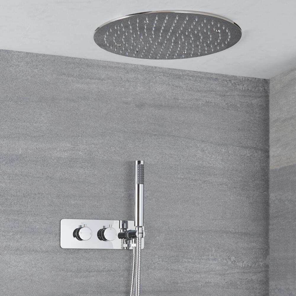 Milano Mirage - Modern Round Twin Diverter Thermostatic Valve with Hand Shower and 400mm Recessed Shower Head - Chrome