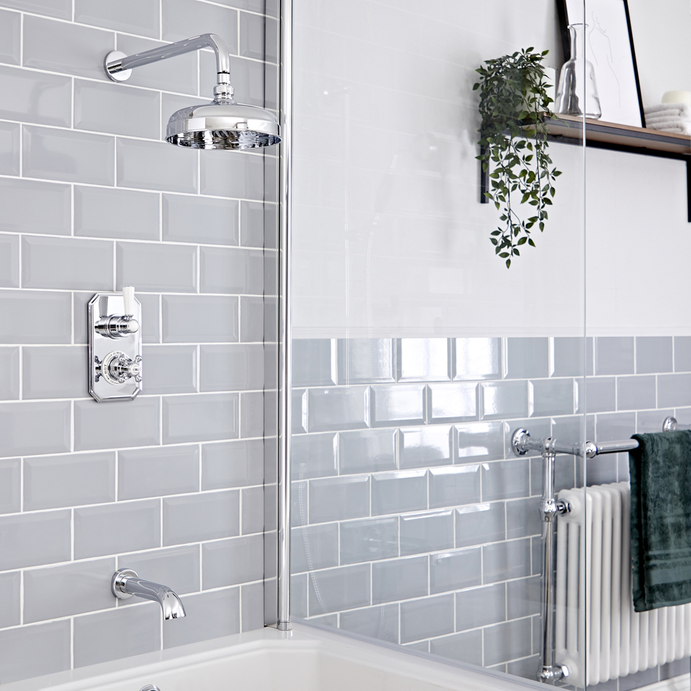 Milano Elizabeth - Chrome and White Traditional Thermostatic Shower with Diverter, Shower Head and Bath Spout (2 Outlet)