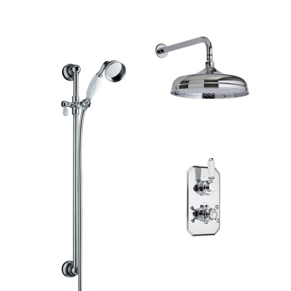 Milano Elizabeth - Traditional Twin Diverter Thermostatic Valve with 150mm Shower Head, Wall Arm, Slide Rail and Hand Shower - Chrome and White