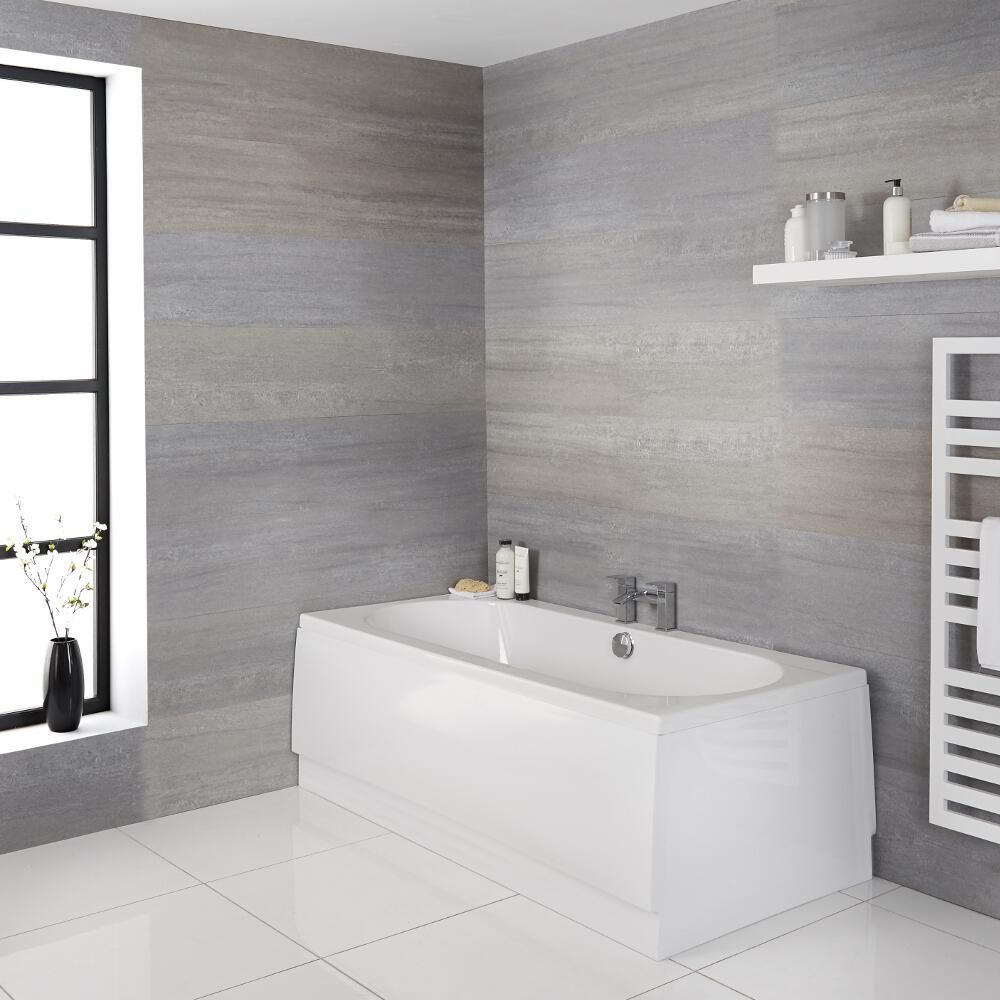 Milano Overton - White Modern Reversible Standard Double Ended Bath - Choice of Sizes