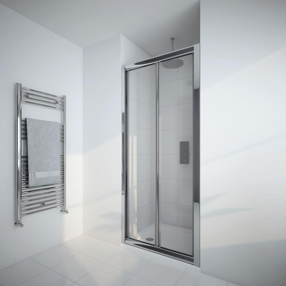 Milano Portland - 900mm Bi-Fold Shower Door - Chrome