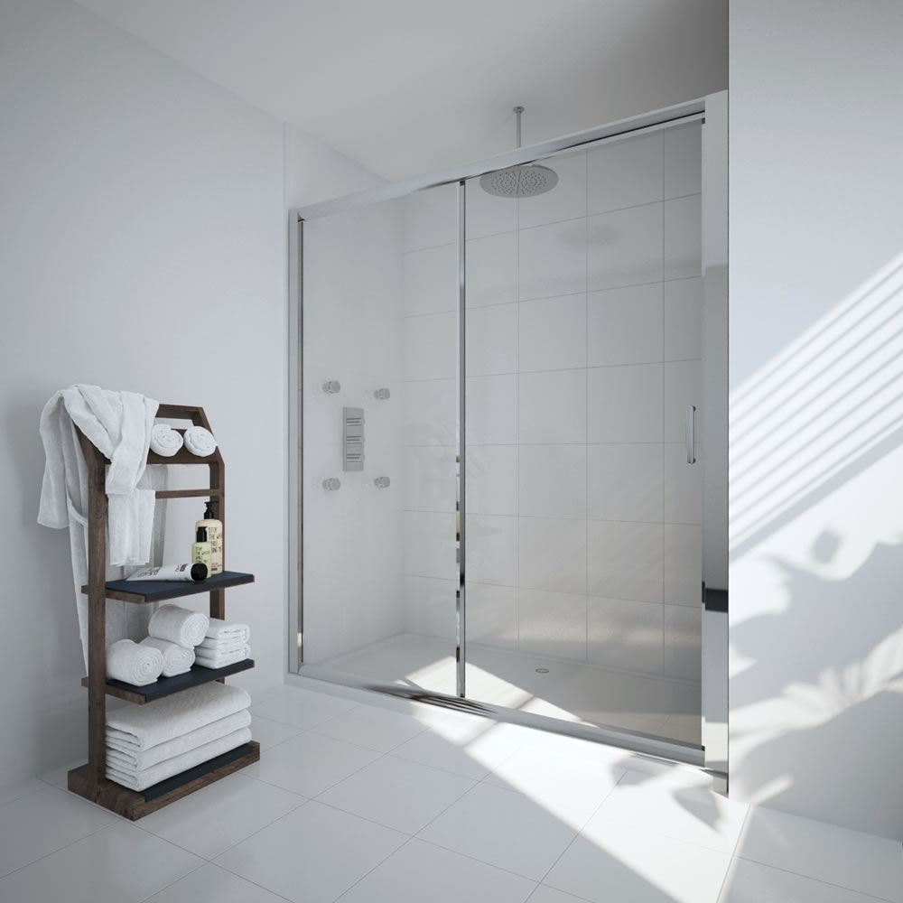 Milano Portland - 1500mm Sliding Shower Door - Chrome
