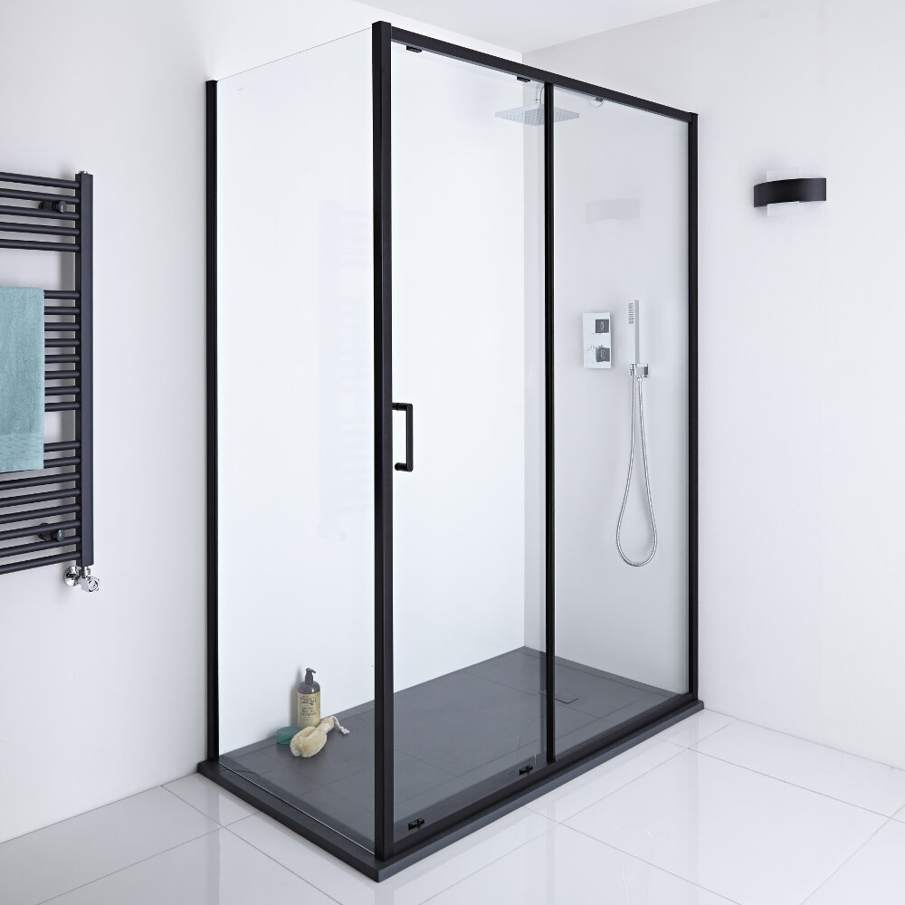 Milano Nero - 1400mm Shower Sliding Door, 900mm Side Panel and Tray
