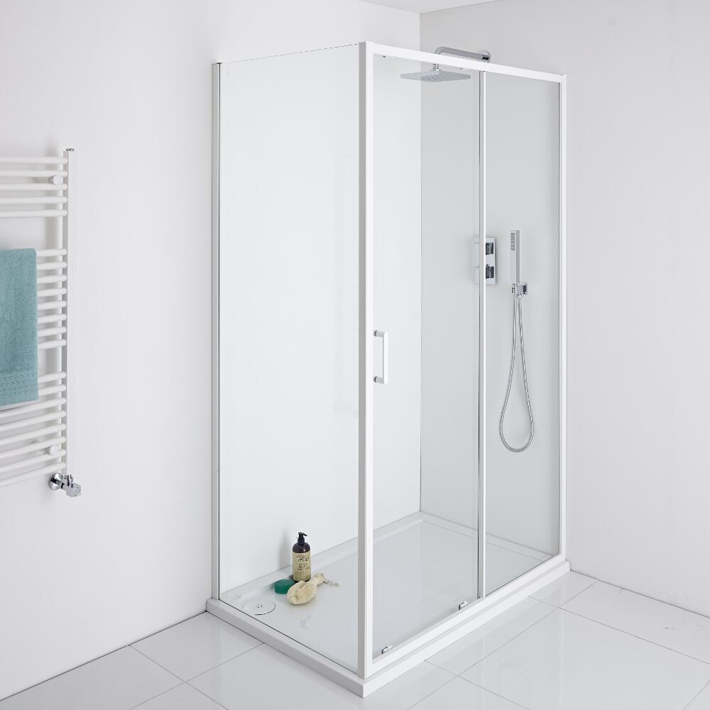 Milano Bianco Sliding Shower Door with Choice of End Panel