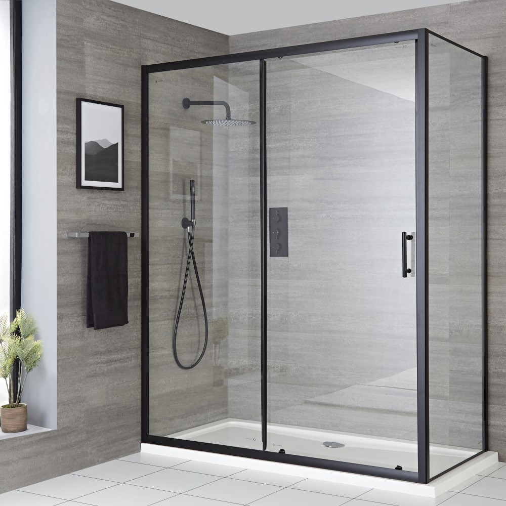 Milano Nero - Black Sliding Shower Door - Choice of Sizes and Side Panel