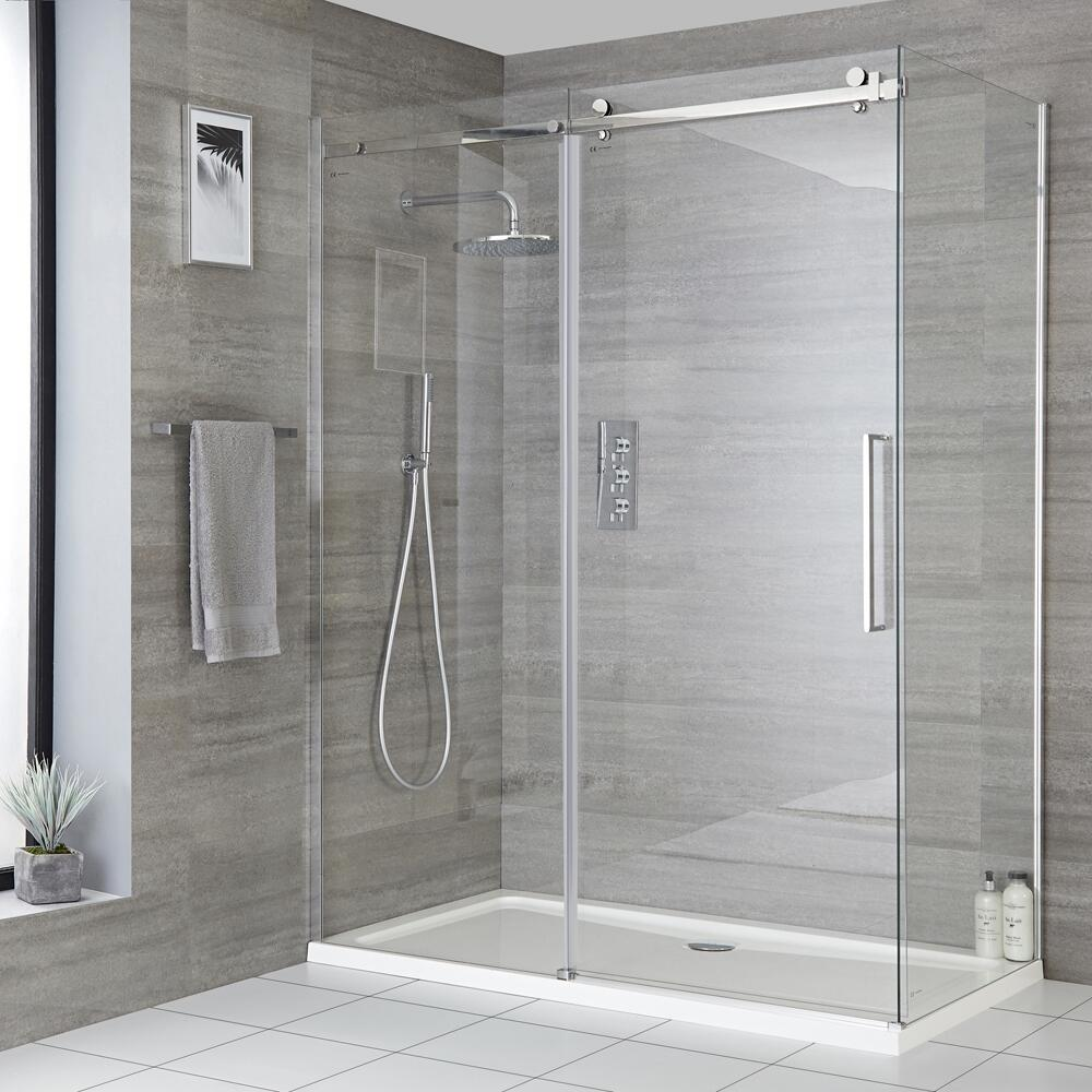 Milano Portland - Frameless Sliding Door Shower Enclosure - Choice of Sizes and Side Panel