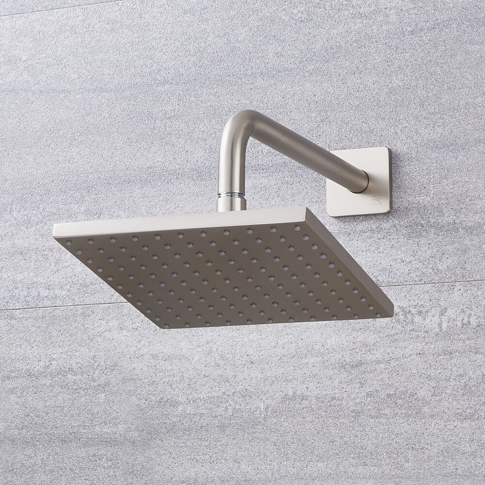 Milano Hunston - 200mm Square Shower Head with Wall Arm - Brushed Nickel