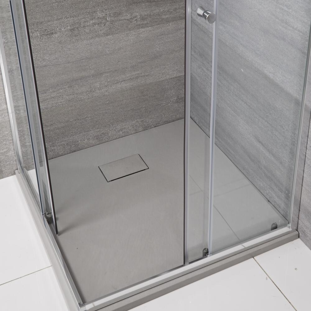 Milano - Light Grey Slate Effect Square Shower Tray - 900mm