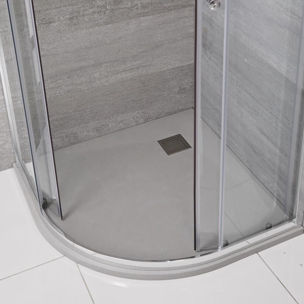 Milano Light Grey Slate Effect Quadrant Shower Tray 900mm
