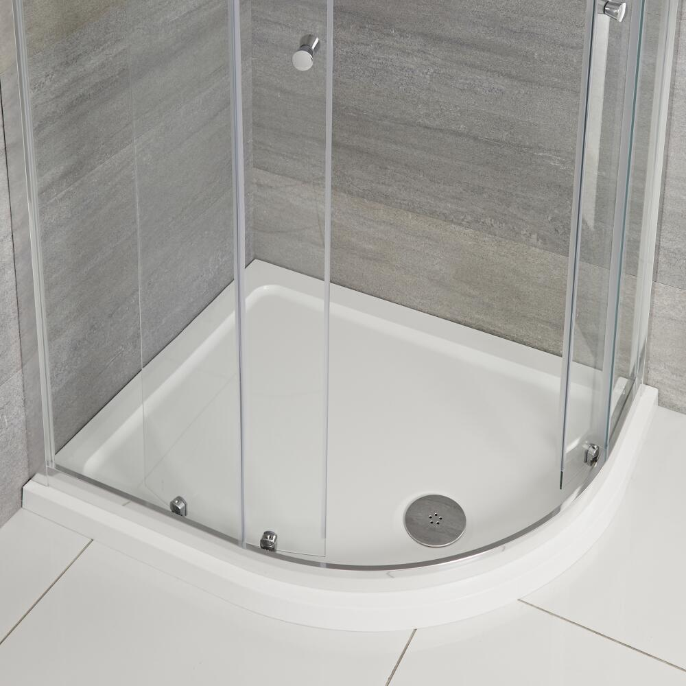 Milano - Right Handed Low Profile Offset Quadrant Shower Tray - 900mm x 800mm
