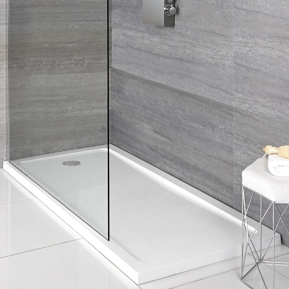 Milano Low Profile Rectangular Walk-in Shower Tray with Drying Area 1700 x 700mm