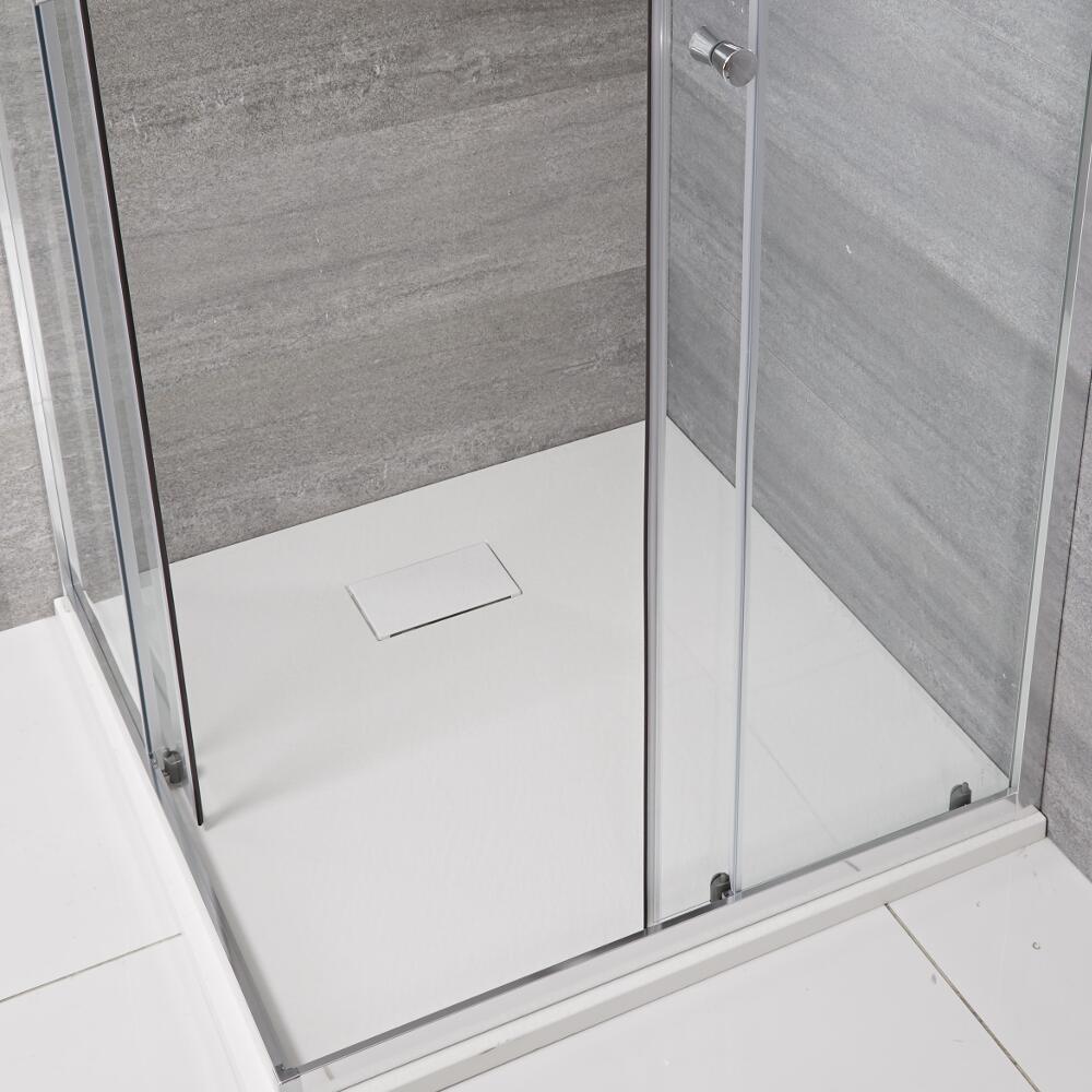 Milano Matt White Slate Effect Square Shower Tray 800mm