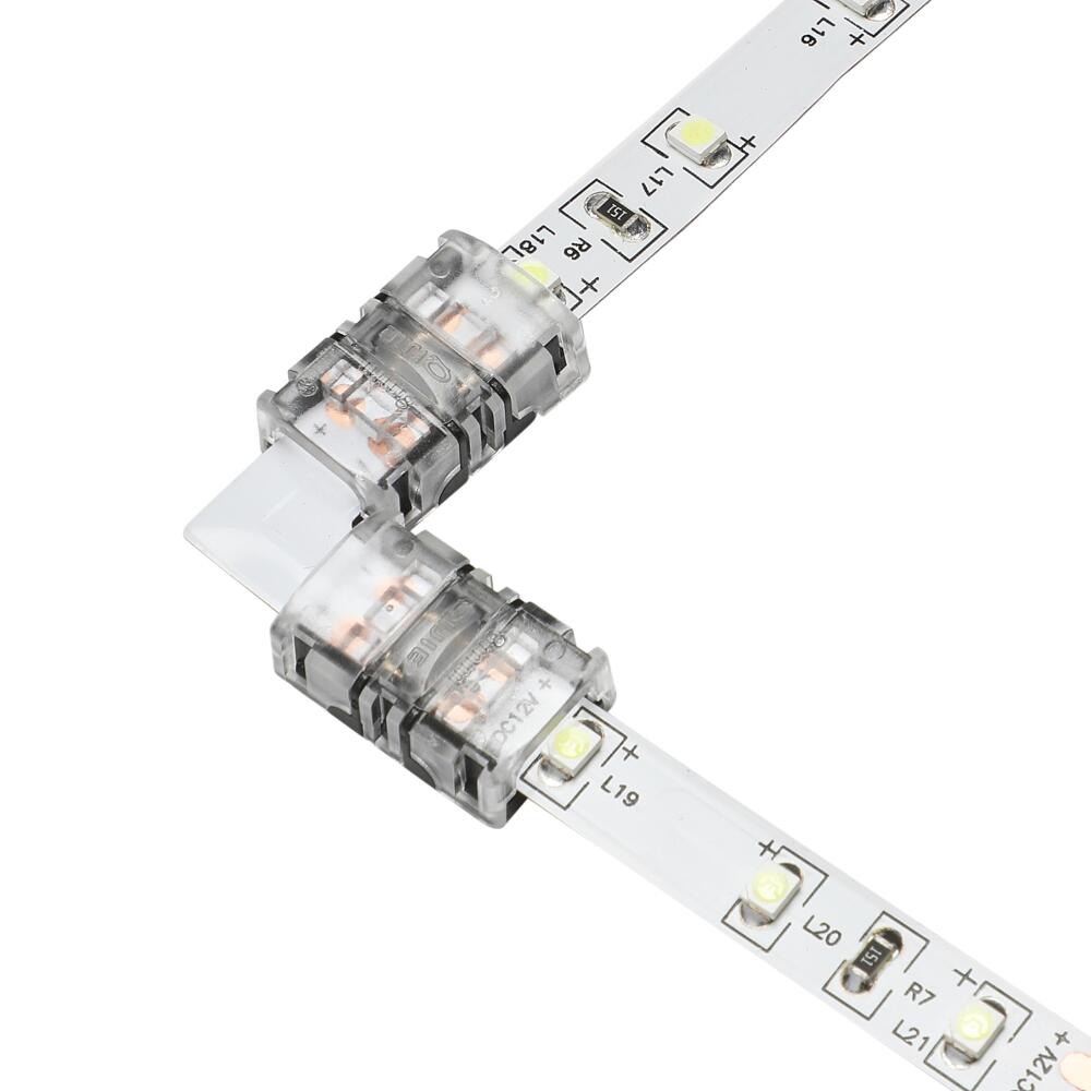 Biard L-Shaped LED Strip Connector for 5050 10mm IP20 Single Colour - 2 Pin