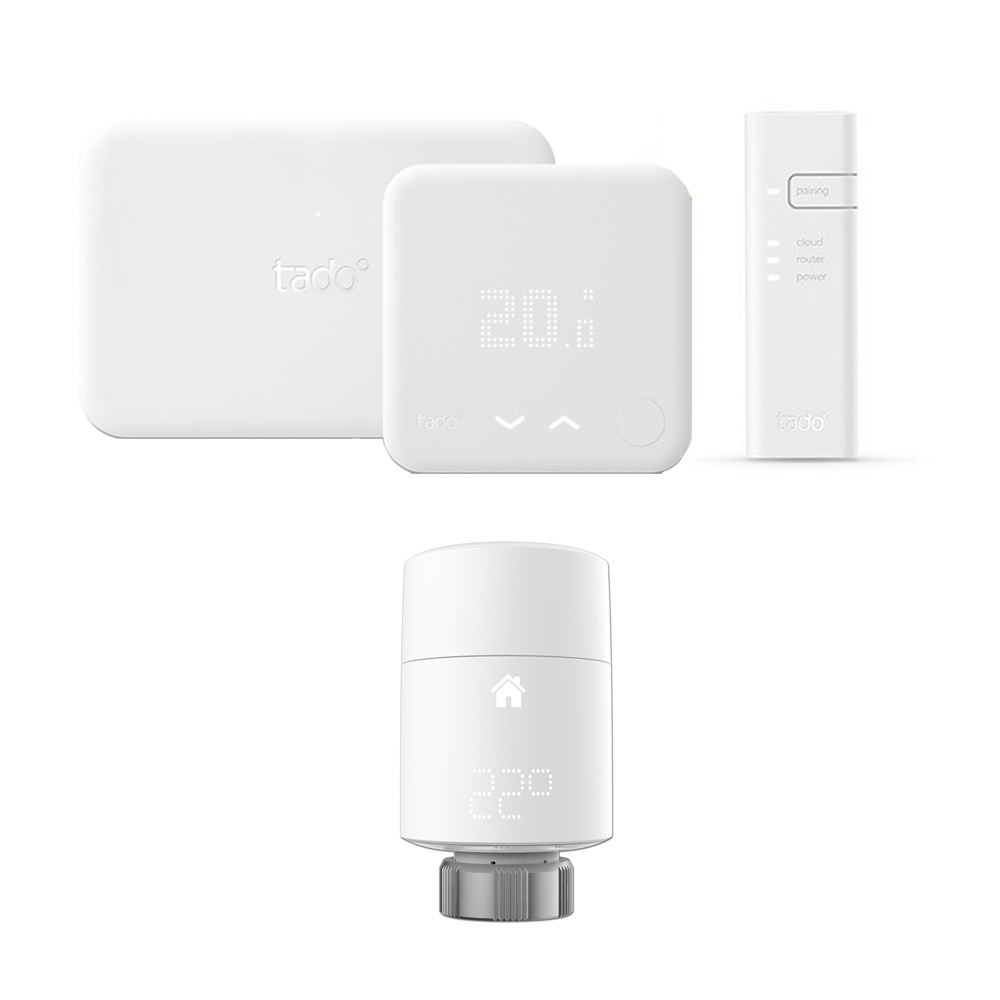 Tado - Smart Thermostat Starter Kit (v3) & Extension Kit With Smart Radiator Valves (Vertical)